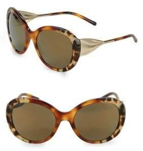 Burberry Mir Tortoiseshell 57MM Oversized Round Sunglasses