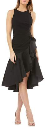 Carmen Marc Valvo Crepe Contrast Ruffle Cocktail Dress