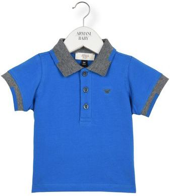 Armani Junior Two Tone Jersey Polo Shirt With Three-Button Fastening