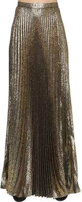 Saint Laurent Plisse Lurex Jacquard Long Skirt