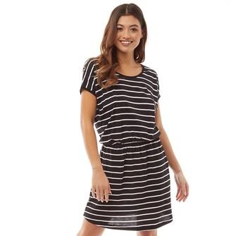 Board Angels Womens Yarn Dyed Striped Short Sleeved Jersey Dress Black/White