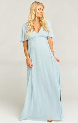 Show Me Your Mumu Emily Maxi Dress ~ Steel Blue Chiffon