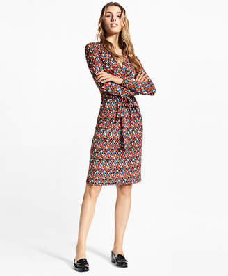 "Brooks Brothers B"" Print Jersey Faux Wrap Dress"