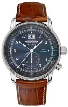 Zeppelin LZ126 Dual Time Men's Watch Ronda 6203.B Satined Stainless Steel Case Blue Dial 8644-3