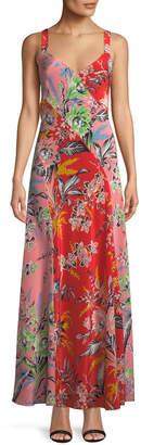 Diane von Furstenberg Bias-Cut Paneled Silk Maxi Dress