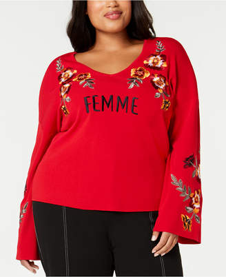 INC International Concepts I.n.c. Plus Size Embroidered Bell-Sleeve Sweater
