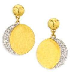 Gurhan Mango Pavé Diamond Drop 24K Gold and 18K White Gold Earrings