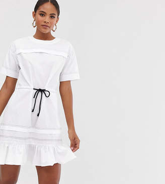 Asos Tall DESIGN Tall mini skater dress with top stitching and rope belt