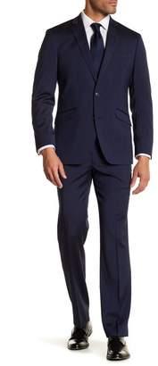 Kenneth Cole Reaction Navy Blue Solid Two Button Notch Lapel Techni-Cole Performance Trim Fit Suit