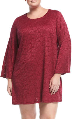 Chelsea & Theodore Plus Lace Bell-Sleeve Shift Dress, Plus Size