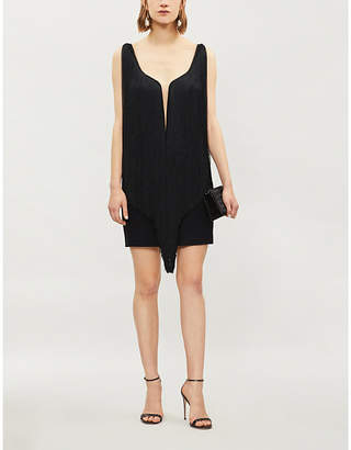 Stella McCartney Fringe-trim stretch-crepe mini dress