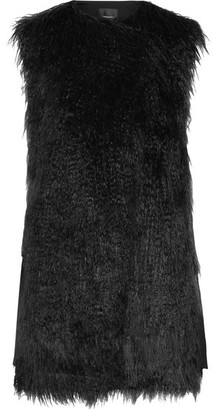 Theory - Nyma Faux Shearling And Crepe Gilet - Black $495 thestylecure.com