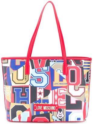 Love Moschino varsity logo graphic shopper tote