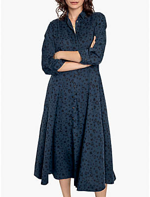 Hush Solitaire Midi Dress, Indigo/Black