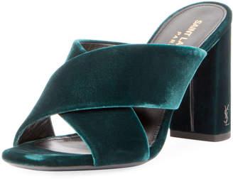 Saint Laurent Velvet Block-Heel Mule Sandal