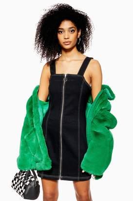 Topshop Womens Stretch Denim Dress With Zip - Washed Black