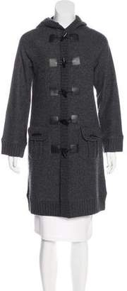 Magaschoni Leather-Trimmed Wool Coat