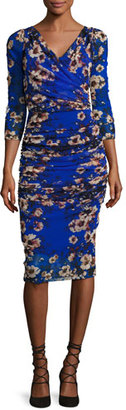 Fuzzi 3/4-Sleeve Ruched Floral-Print Sheath Dress, Multi $580 thestylecure.com
