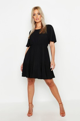 boohoo Plus Tiered Crepe Smock Dress
