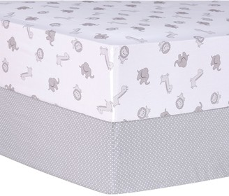 Trend Lab Safari and Dot 2-Pack Fitted Crib Sheet Set