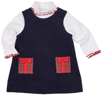 Florence Eiseman Pocket Full of Presents Corduroy Dress w/ Ruffle-Trim Turtleneck Top, Size 12-24 Months