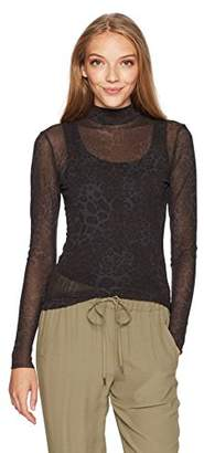 Only Hearts Women's Leopard Tulle Mock Neck Ls Tee