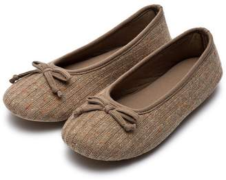 HomeTop Women's Comfy Colored Knit Memory Foam Ballerina House Slippers Shoes with Anti-Slip Rubber Sole