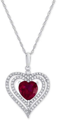 Macy's Lab-Created Ruby (2-1/5 ct. t.w.) and White Sapphire (1/2 ct. t.w.) Heart Pendant Necklace in Sterling Silver