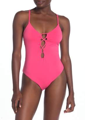 48d9b1ed5434 Lucky Brand Lace-Up Open Back One-Piece Swimsuit