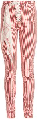 ROCKINS Lace-up high-rise jeans