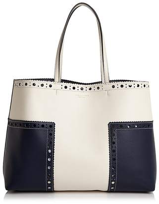 Tory Burch Block-T Brogue Color Block Leather Tote $475 thestylecure.com