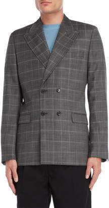 Sandro Grey Plaid Double-Breasted Jacket