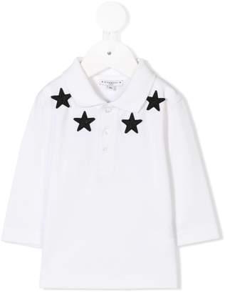 Givenchy Kids star appliqué long-sleeve polo shirt