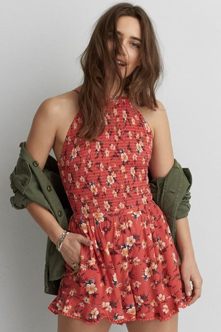American Eagle Outfitters AE Hi-Neck Printed Romper