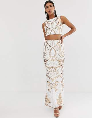 Goddiva high a line maxi skirt in white and gold