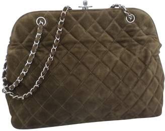 Chanel Vintage Grand shopping Khaki Suede Handbag