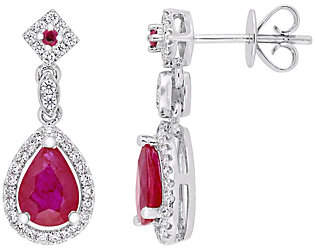 QVC 14K Gold 1.75 cttw Ruby & Diamond Pear Drop Ear rings