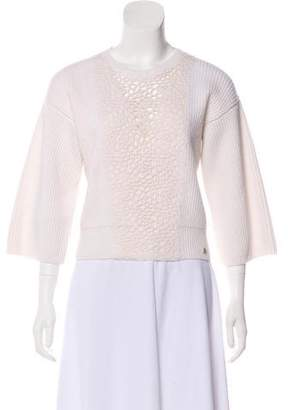 Chanel Open Knit-Paneled Cashmere Sweater