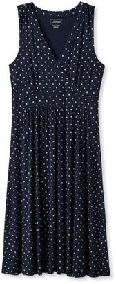 L.L. Bean L.L.Bean Womens Summer Knit Dress, Sleeveless Dot