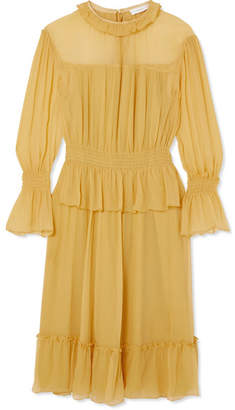 See by Chloe Ruffled Crinkled-silk Dress - Yellow 483eb3b32