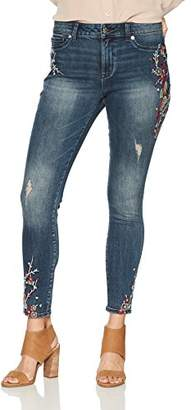 Denim Crush Women's Japanese Floral Embroidery High Rise Skinny 6