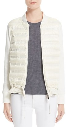 Women's Moncler Maglia Quilted Down Front Tricot Bomber $825 thestylecure.com