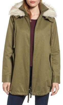 Women's Sam Edelman Faux Fur Collar A-Line Anorak $168 thestylecure.com