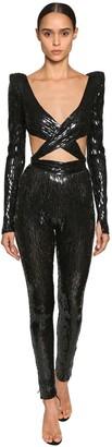 2637b74ee82 Julien Macdonald Sequin Embellished Cutout Nylon Jumpsuit