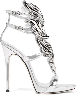 Giuseppe Zanotti - Cruel Embellished Metallic Leather Sandals - Silver $1,595 thestylecure.com