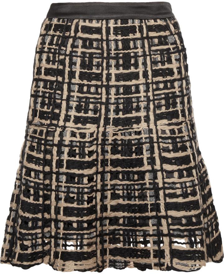 Etro Flared open-weave skirt