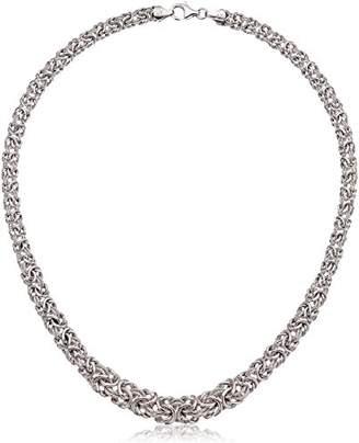 Italian Sterling Chunky Diamond-Cut Byzantine Chain Necklace