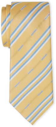 Moschino Yellow & Blue Stripe Silk Tie