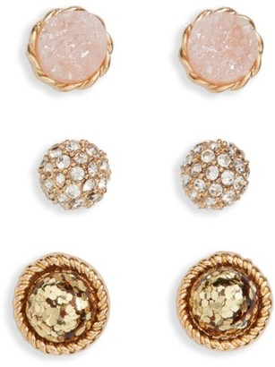Women's Girly 3-Pack Sparkle Stud Earrings $14 thestylecure.com