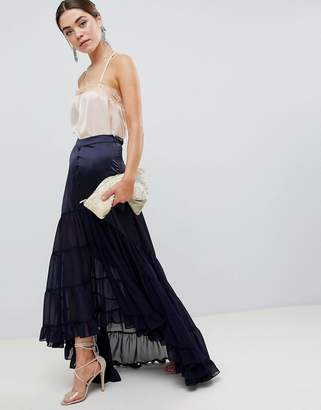 Asos Design DESIGN satin mix tiered hem maxi skirt